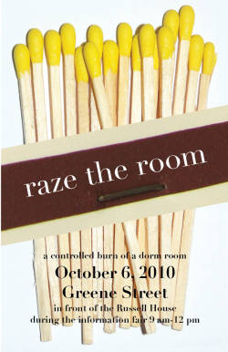Proposed poster for USC Housing's event, Raze the Room, for Fire Awareness Week.