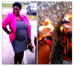Pink, Sprinkles, and Stripes   My plus size, pregnant Outfit of The Day.   Stripe 3quarter sleeve, mid calf body con dress by Liz Claiborne  Pink Blazer (thrifted) Spring/Summer sprinkle graffiti style heels.  DIY earrings by F YourStyle And my GaptoothDiva smile…   I'm shining even if the sun doesn't.