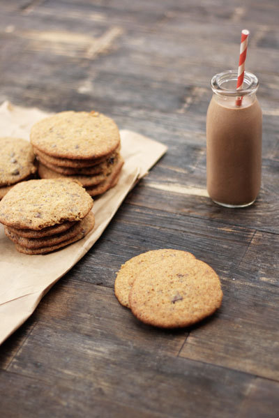 bakeddd:  banana chocolate chip cookies and chocolate banana milk click here for recipe