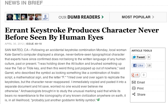 Errant Keystroke Produces Character Never Before Seen By Human Eyes  From The Onion