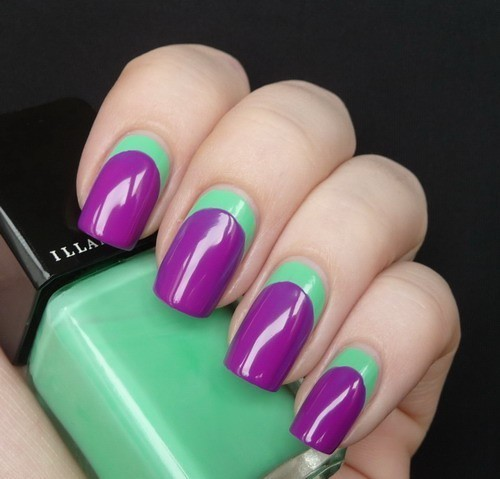 bytheappletree:  reverse french tip in different colors