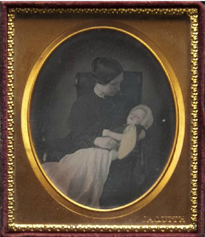 ca. 1850, [daguerreotype portrait of Rosaline Holmes Harrison with her deceased child], Jaquith via the Historical Society of Pennsylvania, Batcheler, Hartshorne, and Sahlin families Papers Collection
