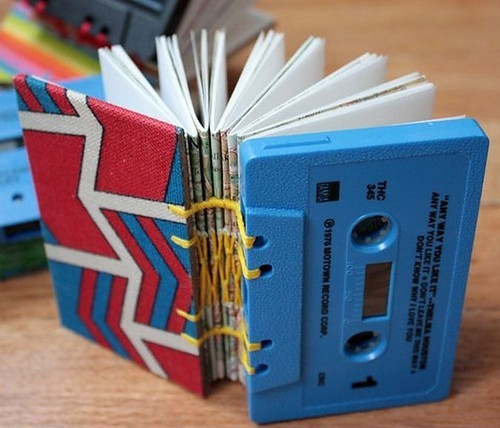 amandaonwriting:  Notebook made from cassette Tapes