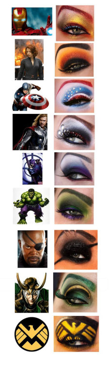 papermag:  Gah! Avengers-themed eye makeup!  ohh it so beautiful!!!!