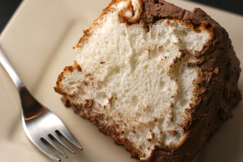 bakeddd:  angel food cake with chocolate whipped cream icing click here for recipe
