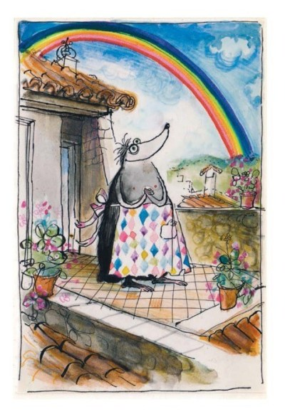 "thedailywhat:  Heartwarming Tearjerker of the Day: When Ronald Searle's wife, Monica, was diagnosed with a rare and aggressive form of breast cancer in 1969, the illustrator drew her a Mrs. Mole drawing ""to cheer every dreaded chemotherapy session and evoke the blissful future ahead."" Monica survived the then-experimental treatment, and died just last summer. Ronald died in January. Now a collection of 47 Mrs. Mole drawings has been released as a book, Les Tres Riches Heures de Mrs Mole. Said Ronald Searle:  ""I drew them originally for no one's eyes except Mo's, so she would look at them propped up against her bedside lamp and think: 'When I'm better, everything will be beautiful.' … Everything about them had to be romantic and perfect.""  [neatorama]"