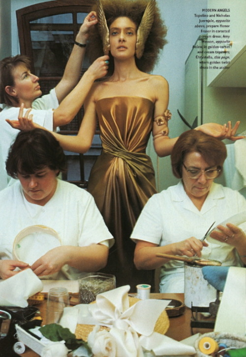 "Golden twist dress in the atelier, Givenchy HC S/S 1997 photographed by William Klein.  ""Couture should make women look sexy and beautiful. When you're paying £10,000 for a dress you want to look fucking fantastic."" - Alexander McQueen, on his first show for the couture house in 1997"
