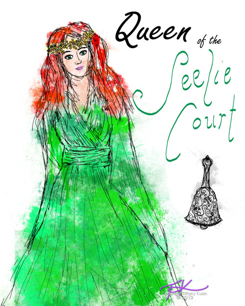 Queen of the Seelie Court, taken from a description in City of Fallen Angels when she appears to Jace and Clary while they're training. The bell given to Clary is in the corner too. Excited for COLS? :)