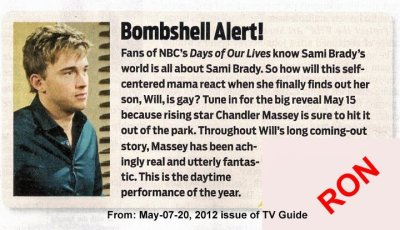 chandler-massey:  Checkout the May 15th Episode of Days, Will takes another big step, and Chandlers sure to kill it once again! (Thanks to Ron)  omg no! I'll be at school taking finals on the 15th