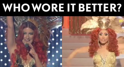 logotv:  WHO WORE IT BETTER: Neon Hitch at the NewNowNext Awards or Phi Phi O'hara at the RuPaul's Drag Race Reunion & Coronation?See the conclusion to Drag Race tonight at 9/8c on Logo!