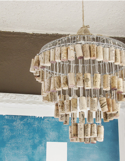 wattlebirdblog:  DIY wine cork chandelier via Mox and Fodder