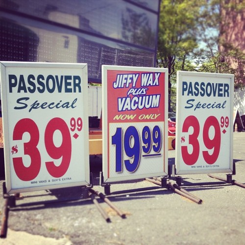 *Of course* this carwash ran a Passover special. (Taken with instagram)