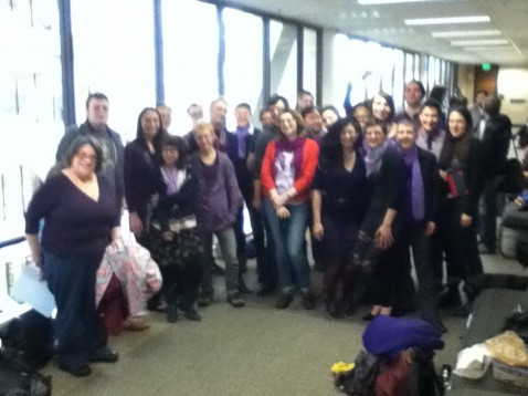 Just a portion of the folks that came to pack the courtroom today for the first day of CeCe's trial. We not only packed the courtroom but also lined both sides of the hallways. The Queer & Trans community is powerful when united! CeCe McDonald Trial Preview of Day 1 http://www.prettyqueer.com/2012/04/30/cece-mcdonald-trial-preview-of-day-1/