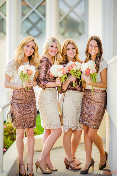 Adorably sequined. Not sure how I feel about bridesmaids in skirts - but they sure look stunning!