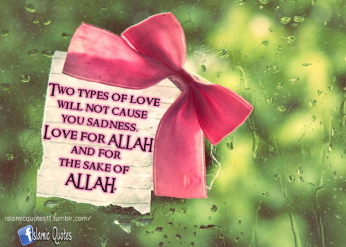 islamicquotes11:  Two types of love will not cause you sadness. Love for ALLAH and for the sake of ALLAH.
