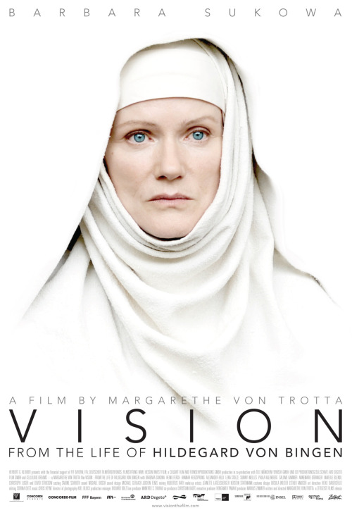 Poster for Vision, a film about Hildegard von Bingen directed by Margarethe von Trotta. Really incredible and beautiful feminist film. Hildegard was a badass.