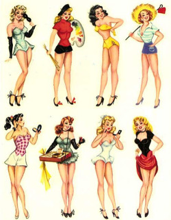 fancydancynancy:   Meyercord PIn-up decals c. 1950's  ❤ Vintage Wonderland ❤