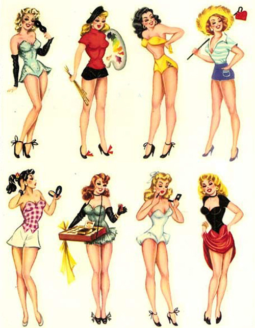 novocainelipstick:  fancydancynancy:   Meyercord PIn-up decals c. 1950's     That Cigarette girl tho'