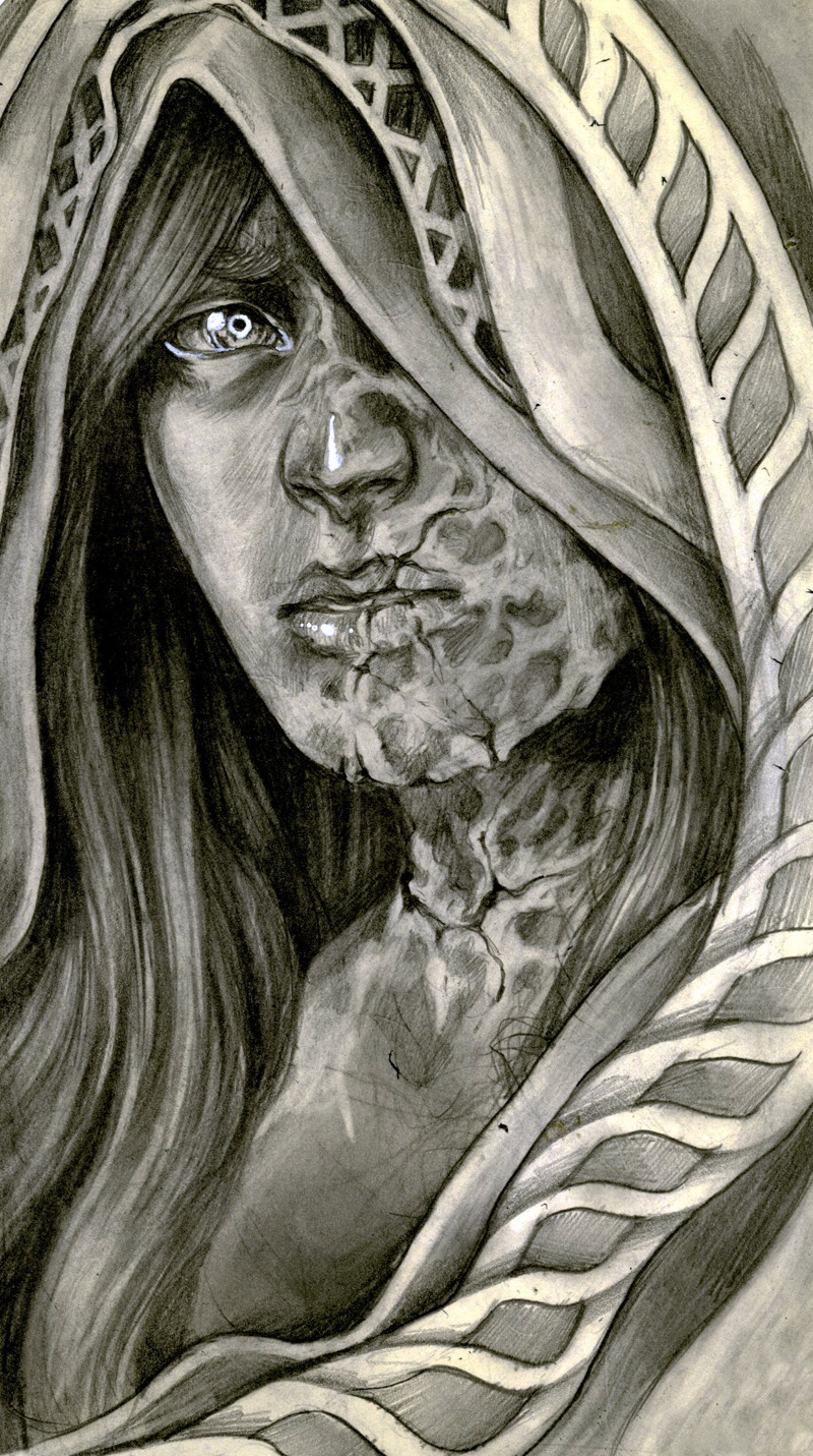 "caitlynkurilich:  Keloid, Graphite on Moleskine, 5"" x 8"", 2012. One of my favorite illustrators, Sam Wolfe Connelly, came to talk at SCAD Illustration Club, and I ended up drawing this and giving it to him. (Hopefully he enjoys creepy, scarred-up girls as much as I do…?)"