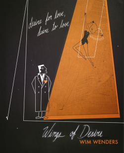 criterioncorner:  One Last WINGS OF DESIRE Poster From The Silver Screen Society Designed By: Victoria Fernandez and so, a month of gorgeous posters celebrating Wim Wenders' immortal film comes to a close. this Victoria Fernandez design was actually one of the first to appear in The Silver Screen Society's Wings of Desire showcase when it began at the beginning of April, but i felt like saving it because — technically speaking — it is totally sweet. looking forward to seeing what movie TSSS is gonna devote their talents towards in May!