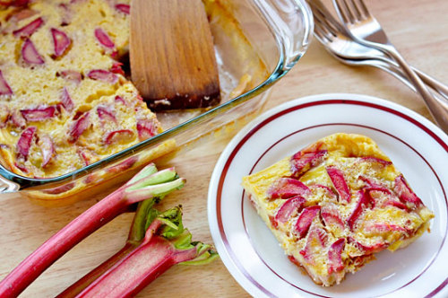 "Roasted Rhubarb ClafoutiServes 4-6 For the Rhubarb:2 cups (8 1/2 ounces, about 3 long stalks) diced rhubarb2 tablespoons granulated sugar1/2 teaspoon cinnamon For the Clafouti1/3 cup (2 1/2 ounces) granulated sugar3 large eggs1 teaspoon vanilla extract1 cup (8 ounces) whole milk1/2 cup (2 1/2 ounces) all-purpose flour1 teaspoon lemon zestpinch of salt Heat the oven to 350°F. Combine the rhubarb with the sugar and cinnamon in a small bowl and set aside for 5-10 minutes to dissolve the sugars and begin extracting the rhubarb juices. Spread the rhubarb in the bottom of an 8x8"" baking dish or 9"" pie pan. Roast uncovered for 15-20 minutes, until the rhubarb is soft and the juices are bubbling. Allow to cool until the rhubarb is just warm to the touch. Whisk together the eggs, sugar, and vanilla. Whisk in the milk. Whisk in the flour, lemon zest, and salt. (To avoid clumps, sift the flour into the bowl through a strainer.) This batter can be prepared up to 30 minutes ahead of time. Pour the batter over the roasted rhubarb and bake for 35-40 minutes (still at 350°F). When it's done, the clafouti should be puffed around the edges and a toothpick inserted in the middle should come out clean. It's ok if the middle still jiggles slightly, and the edges will collapse once the clafouti starts to cool. The longer it cools, the most set the clafouti becomes. For a loose pudding-like dessert, serve while still warm from the oven. For a firmer custard, allow to cool to room temperature or serve chilled. If you're feeling fancy, sift a little confectioner's sugar over the top just before serving. Leftovers will keep refrigerated for up to a week."