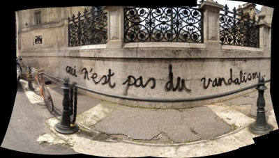 "Magritte 2.0: ""ceci n'est pas du vandalisme"". This is not vandalism graffiti on the wall of the Ecole des Beaux Arts, Paris, France. ░ www.taumazo.com ░"