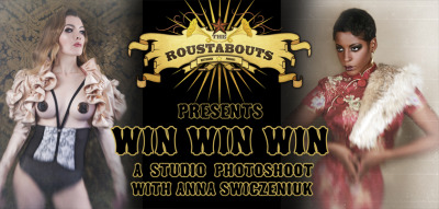 Share to win a photoshoot!This month's prize is donated by one of the Roustabout members, Anna Krohnistic (a.k.a Anna Swiczeniuk), who also happens to be a photographer when she isn't out cavorting in the filthiest cabarets.This prize consists of a studio photoshoot with Anna Swiczeniuk (www.aiko273.co.uk), worth over £300, which includes..- Makeup done by the fantastic Cheyenne Raymond (www.cheyenneraymond.com)- Theme of your choice (from pin up girl to exotic siren, your choice!)- 4 retouched imagesJust follow us on Tumblr and reblog this post!Want to find out how to gain 2 more chances of winning? Here's a clue! http://theroustabouts.co.uk/blog/win-a-studio-photoshoot-with-anna-swiczeniuk