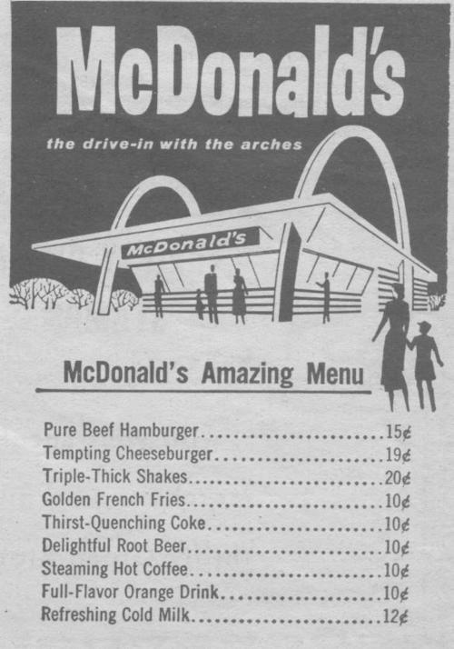 - The McDonald's menu, back in the days
