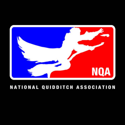 """National Quidditch Association (NQA)"" by Royal Bros Art. OK, kids. You could dream of playing a common sport like basketball or baseball at a national level, but isn't that too easy?