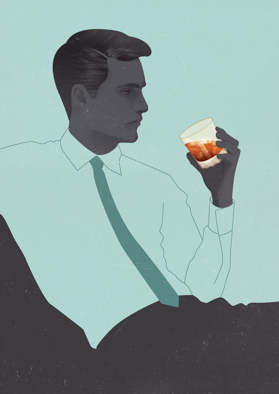 The Gentleman's Guide to Cocktails // Cover  Over the last billion months I've been slaving away on this project and can't believe it's now finally over, I now feel incredibly complacent and a little sad (actually, somewhat forlorn). There have been ups and downs, but I've enjoyed myself ten fold throughout the entire process and have learnt a truck load ready to take with me into my freelance career. The project was commissioned through the UK division of Hardie Grant Books and since then I've been working collaboratively with my good friend and ex-tutor Charlotte Heal who designed the whole book with help from freelance designer Sergio Garcia. Although I'm sad it's over, I'm excited to see the printed thing! (There's even talk of a launch night!)