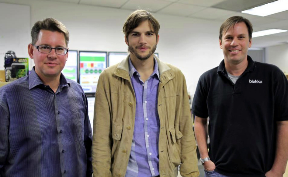 Celebrity alert! Ashton Kutcher swung by the blekko offices last week for an investor meeting. If you didn't know, Ashton invested in the start up last winter.  Also pictured are Rich Skrenta, CEO of blekko, and Mike Markson, VP of Marketing. Source: https://www.facebook.com/blekko