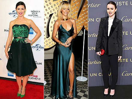 TREND REPORT Up: Bold-colored pumps. Emily Blunt worked this look perfectly at a Five Year Engagement premiere this week, setting off the green in her dress with her bright Alice + Olivia shoes.  Down: Choker necklaces. It's nothing personal, Rihanna, it's just that chunky statement necklaces are taking the place of solid, choker-style accessories. Up: Menswear-inspired fashions. Lily Collins gets this one right, making a suit sexy with tailored pants, a ruffled blouse and perfect accessories.