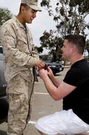 "A gay sailor and marine got engaged at Camp Pendleton in San Diego this week—the first out couple to do so on a military base, reports the San Diego LGBT Weekly.  On Tuesday, Navy veteran Cory Huston got down on one knee and asked Marine Avarice Guerrero to marry him—and Guerrero said yes! Unfortunately the pair will have to tie the knot outside of California if they don't want to wait until Prop 8 finishes working its way through the courts. And even if they went to New York or Vermont to get hitched, they wouldn't be eligible for military housing or spousal benefits. (Thanks DOMA!) Despite the bittersweet aspects of their union, Huston was ecstatic after popping the question when Guerrero returned from deployment in Afghanistan. ""This is a huge step for me,' said Huston, who was discharged from the Navy during the days of Don't Ask Don't Tell. After accepting the proposal, Guerrero told the paper """"I was blown away. I was shocked that after all we'd been through, he would honestly want to spend the rest of his life with someone like me."" Full story here: http://www.queerty.com/semper-fi-gay-sailor-and-marine-get-engaged-at-camp-pendleton-20120430/#ixzz1tYawihTF"