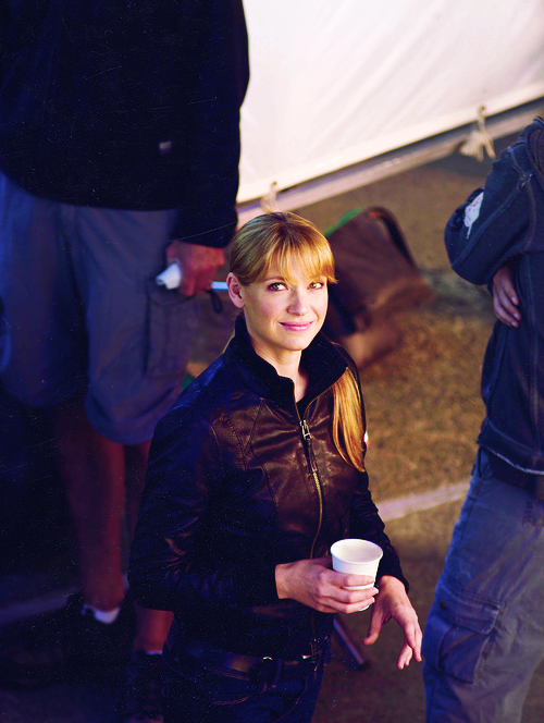 Anna Torv, on the set of Fringe.