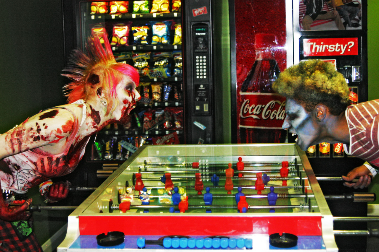 Zombies playing table football…