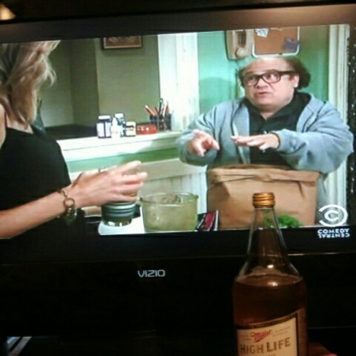I'm being very productive today.  #itsalwayssunnyinphiladelphia #millerhighlife #beer #home (Taken with instagram)