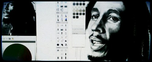 Working on portrait of Bob Marley :digital portrait. From Photo on the left. It'll be well into May by time I get it done. Not enough hours in the day. *sigh*