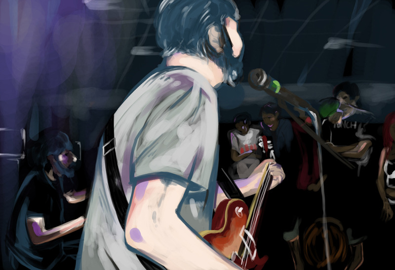 Digital painting from a photo I took at Loma Prieta's show at Food For Thought Cafe in March / Illustration final