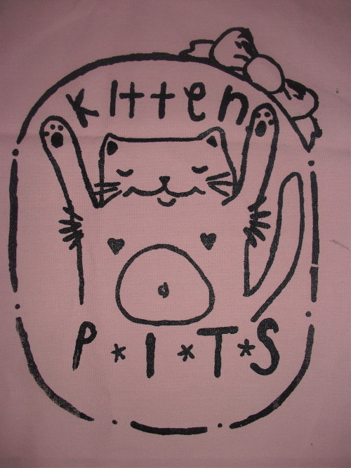 theseasonofthewitch:  diycraftsforsale:  Kitten Pits back patch on baby pink canvas, 5 dollars each. Measures around round 14 by 11 inches.  Oh yes.  all of the patches