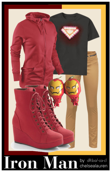 Iron Man | Marvel by chelsealauren10    Nike hoodie, $42Ichi brown pants, €50Earrings, $10Iron Man Classic Core T-Shirt, $16