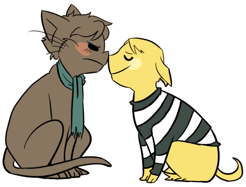 Anonymous asked you: I have this uber-cute image in my head of catlock and pupjohn nuzzling noses. idk I'm a fluffy person. did someone say fluff