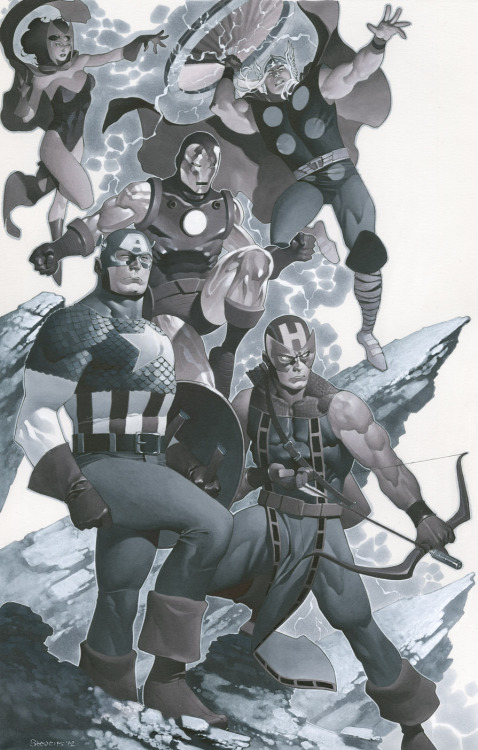 timetravelandrocketpoweredapes:  The Avengers by Chris Stevens  #avengers #hawkeye #captainamerica