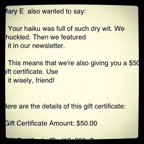 I'm getting published! Lol. Thanks @Thinkgeek! #haiku (Taken with instagram)