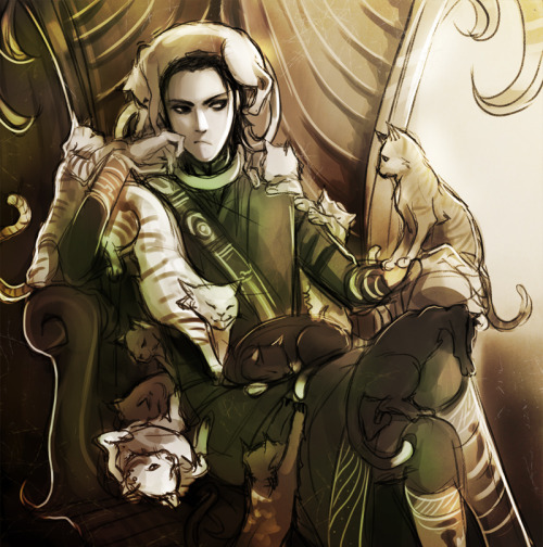 agentmlovestacos:  GOOD MORNING, WORLD. via miyuli:  Loki - God of Cats.…Wait.