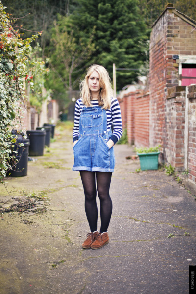 """fashionnier:  Louise, Norwich As Louise and Liz suggested, """"proper"""" dungarees, ones that don't hug your thighs and sit right below the bum. Dungaree Revival? FASHIONNIER, Street style Norwich"""
