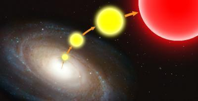"Rogue Stars Ejected from the Galaxy Are Found in Intergalactic Space ScienceDaily (Apr. 30, 2012) — It's very difficult to kick a star out of the galaxy. In fact, the primary mechanism that astronomers have come up with that can give a star the two-million-plus mile-per-hour kick it takes requires a close encounter with the supermassive black hole at the galaxy's core. So far astronomers have found 16 of these ""hypervelocity"" stars. Although they are traveling fast enough to eventually escape the galaxy's gravitational grasp, they have been discovered while they are still inside the galaxy. Now, Vanderbilt astronomers report in the May issue of the Astronomical Journal that they have identified a group of more than 675 stars on the outskirts of the Milky Way that they argue are hypervelocity stars that have been ejected from the galactic core. They selected these stars based on their location in intergalactic space between the Milky Way and the nearby Andromeda galaxy and by their peculiar red coloration. ""These stars really stand out. They are red giant stars with high metallicity which gives them an unusual color,"" says Assistant Professor Kelly Holley-Bockelmann, who conducted the study with graduate student Lauren Palladino. In astronomy and cosmology, ""metallicity"" is a measure of the proportion of chemical elements other than hydrogen and helium that a star contains. In this case, high metallicity is a signature that indicates an inner galactic origin: Older stars and stars from the galactic fringes tend to have lower metallicities. The researchers identified these candidates by analyzing the millions of stars catalogued in the Sloan Digital Sky Survey. ""We figured that these rogue stars must be there, outside the galaxy, but no one had ever looked for them. So we decided to give it a try,"" said Holley-Bockelmann, who is studying the behavior of the black hole at the center of the Milky Way galaxy. Astronomers have now found evidence for giant black holes at the centers of many galaxies. They estimate that the Milky Way's central black hole has a mass of four million solar masses. They calculate that the gravitational field surrounding such a supermassive black hole is strong enough to accelerate stars to hypervelocities. The typical scenario involves a binary pair of stars that get caught in the black hole's grip. As one of the stars spirals in towards the black hole, its companion is flung outward at a tremendous velocity. A second scenario takes place during periods when the central black hole is in the process of ingesting a smaller black hole. Any star that ventures too close to the circling pair can also get a hypervelocity kick. Red giant stars are the end stage in the evolution of small, yellow stars like the Sun. So, the stars in Holley-Bockelmann's rogues' gallery should have been small stars like the Sun when they tangled with the central black hole. As they traveled outward, they continued to age until they reached the red giant stage. Even traveling at hypervelocities, it would take a star about 10 million years to travel from the central hub to the spiral's edge, 50,000 light years away. ""Studying these rogue stars can provide us with new insights into the history and evolution of our home galaxy,"" said Holley-Bockelmann. The researchers' next step is determine if any of their candidates are unusually red brown dwarfs instead of red giants. Because brown dwarfs produce a lot less light than red giants, they would have to be much closer to appear equally bright."