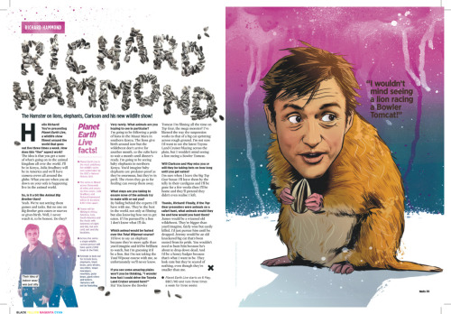 Richard 'The Hamster' Hammond for Nuts magazine. Illustration by Chris King. I especially like the background Chris added to this illustration, so much so, that I carried the colours across the page into the box out. The headline was created and shot by me using real sunflower seeds. I had to pick them individually out of giant bag of bird seeds I bought in a local pet store in the end.