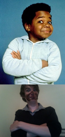 theshoutingendoflife:  iamsexy:  Remember when I was Gary Coleman?  Josh one day you are going to be accepting an award or something in front of journalists and someone is going to display this image on a screen behind you and it will ruin your career and you'll never work again. One day.  Either that or I'll be given the role of a white man pretending to be a black man and be nominated for an Academy Award like Robert Downey Jr in Tropic Thunder