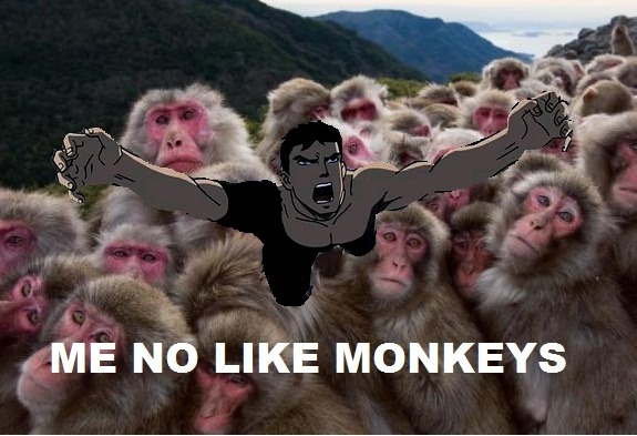Superboy is lost in a dimension of neverending pink monkeys, we can tell he has been there for a while because his clothes are torn.