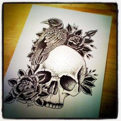guivy:  crow & skull tattoo design